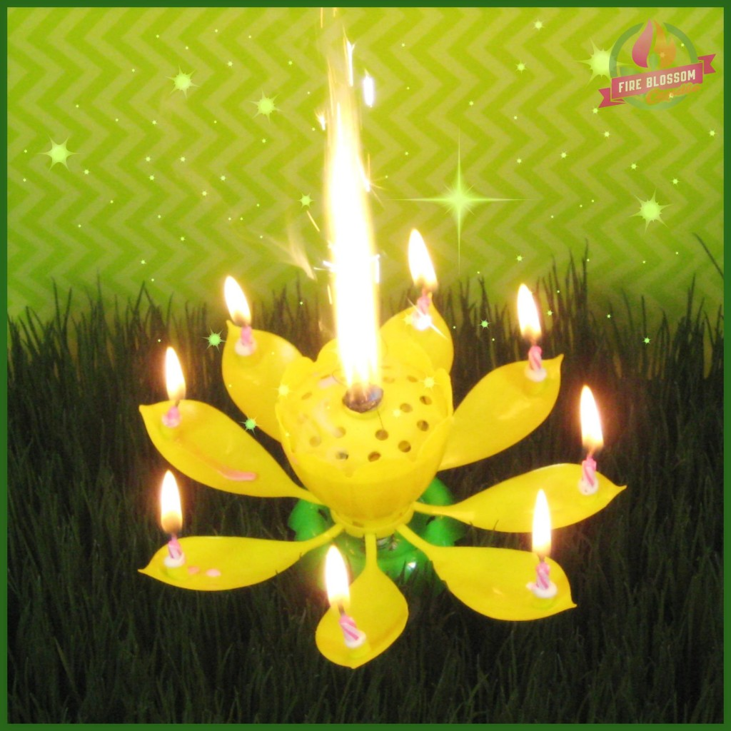 Yellow Birthday Candle - Fire Blossom Candle